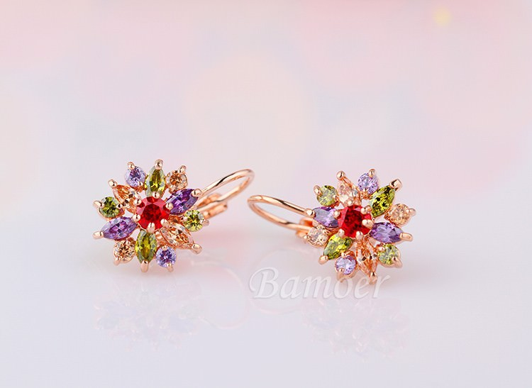 11575-e7fefb4f608cfe765cb834f7a418b462 BAMOER Luxury Gemmed Floral Lever Back Earring Jewelry