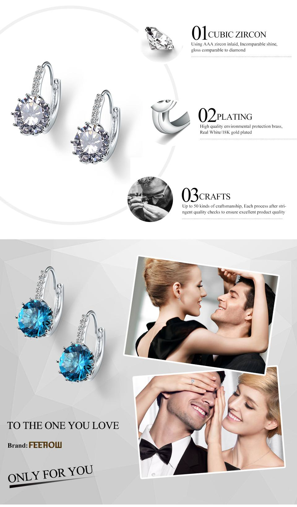 11576-ee46decaea0b4676107e04171410873a FEEHOW Cubic Zirconia Lever Back Wedding Earring Jewelry