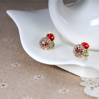 Trendy Rhinestone Filled Multicolor Round Push Back Earring Jewelry