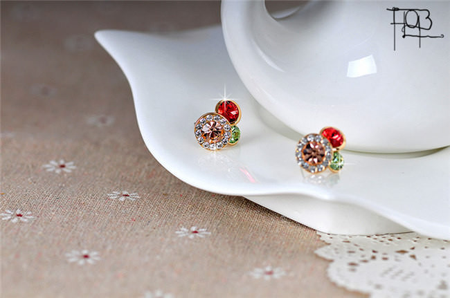 11577-811ae8107bda5e134351d4fd4838d449 Trendy Rhinestone Filled Multicolor Round Push Back Earring Jewelry