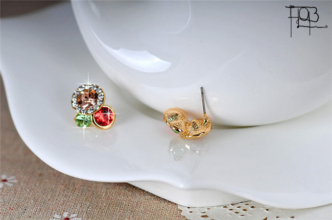 11577-9bc62f779b17831e8c5ce68491bf2be3 Trendy Rhinestone Filled Multicolor Round Push Back Earring Jewelry