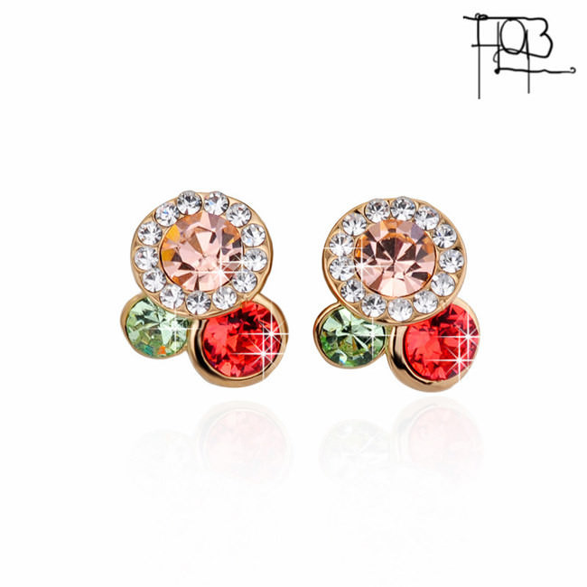 11577-f5036537584d3137d8f42103ec48ee31 Trendy Rhinestone Filled Multicolor Round Push Back Earring Jewelry