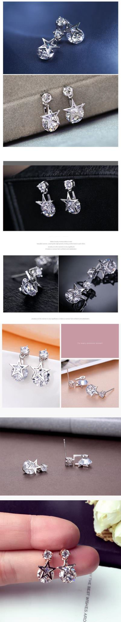 11578-795c51e3f607dcf2875dae91d8b03059 Crystal Pentagram Cubic Zirconia Fashion Jewelry Earrings