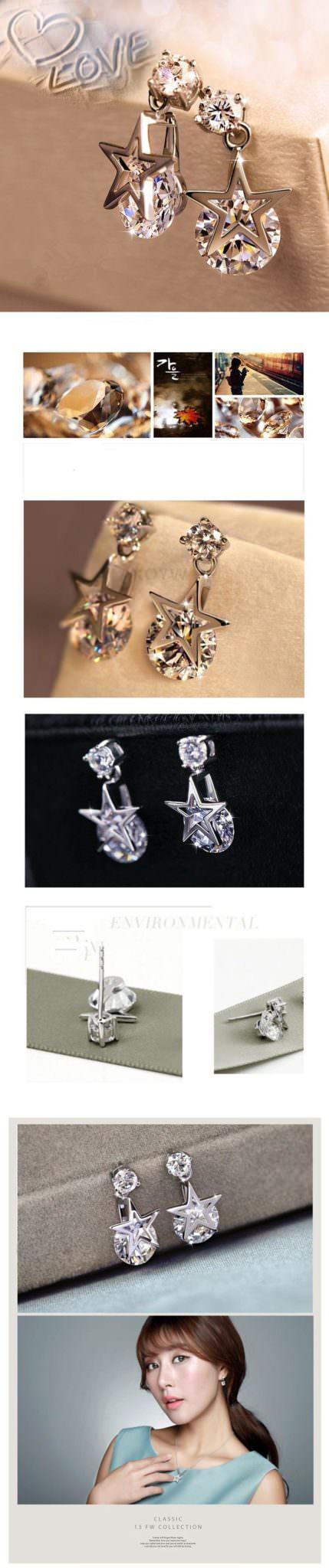 11578-a01764479cbe6e53fbff399ed0875bbc 2016 Ms Crystal Pentagram Cubic Zirconia Fashion Jewelry Earrings
