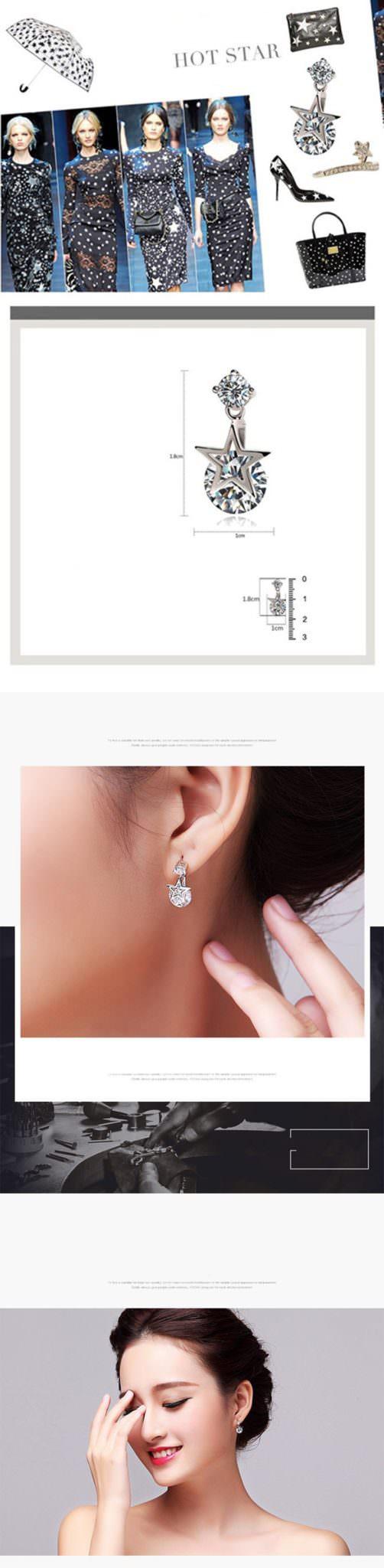 11578-cb200ed17100493056a4e7899cc1488a 2016 Ms Crystal Pentagram Cubic Zirconia Fashion Jewelry Earrings