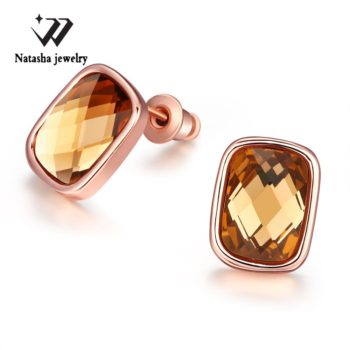 Cubic Zirconia Square Diamond Rose Gold Plated Earring Jewelry