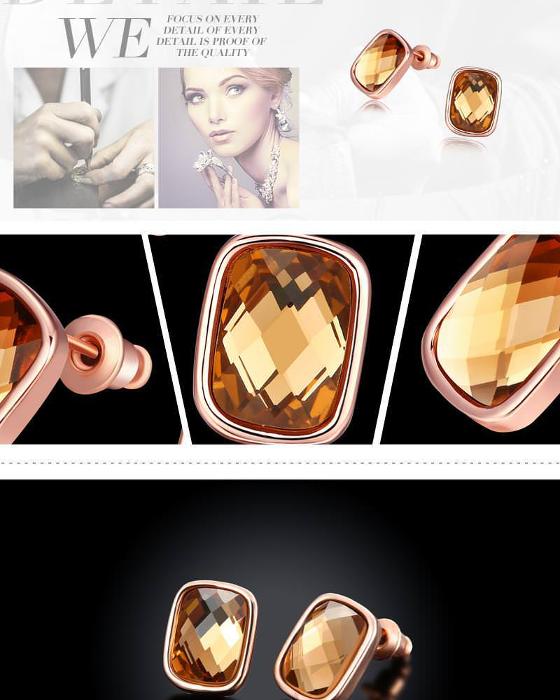 11580-726637c182a6209637472eda6294382d Cubic Zirconia Square Diamond Rose Gold Plated Earring Jewelry