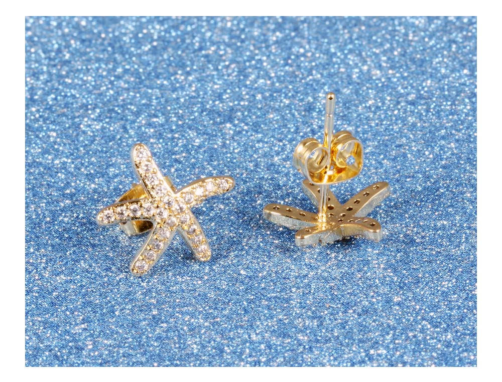 11584-1ac549d16a3c446a9f855ed18c855f94 Fashion Cubic Zirconia Starfish Push Back Earring Jewelry