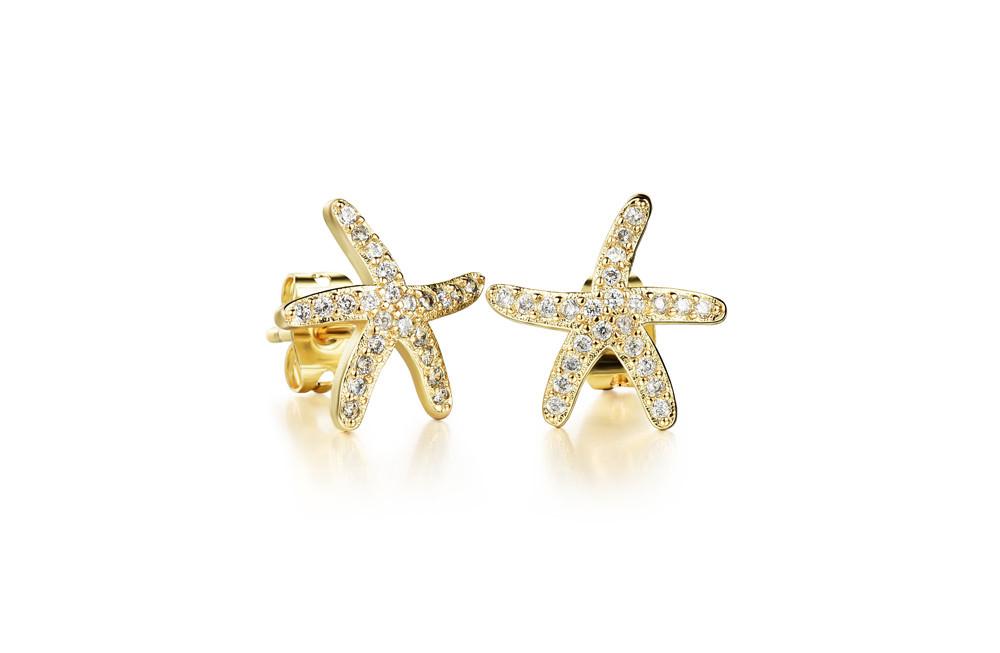 11584-89d8d1b18c0dbffb062f28301a6b0a45 OPK Fashion Cubic Zirconia Starfish Push Back Earring Jewelry