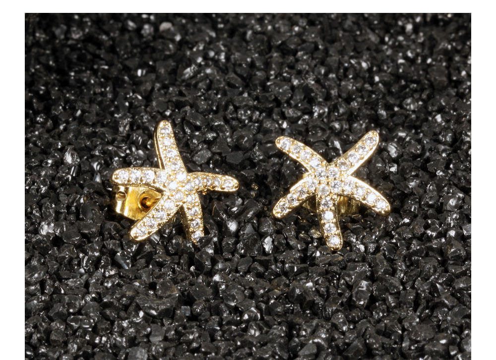 11584-90c029ae9273c60afdc0405ce521bc81 Fashion Cubic Zirconia Starfish Push Back Earring Jewelry