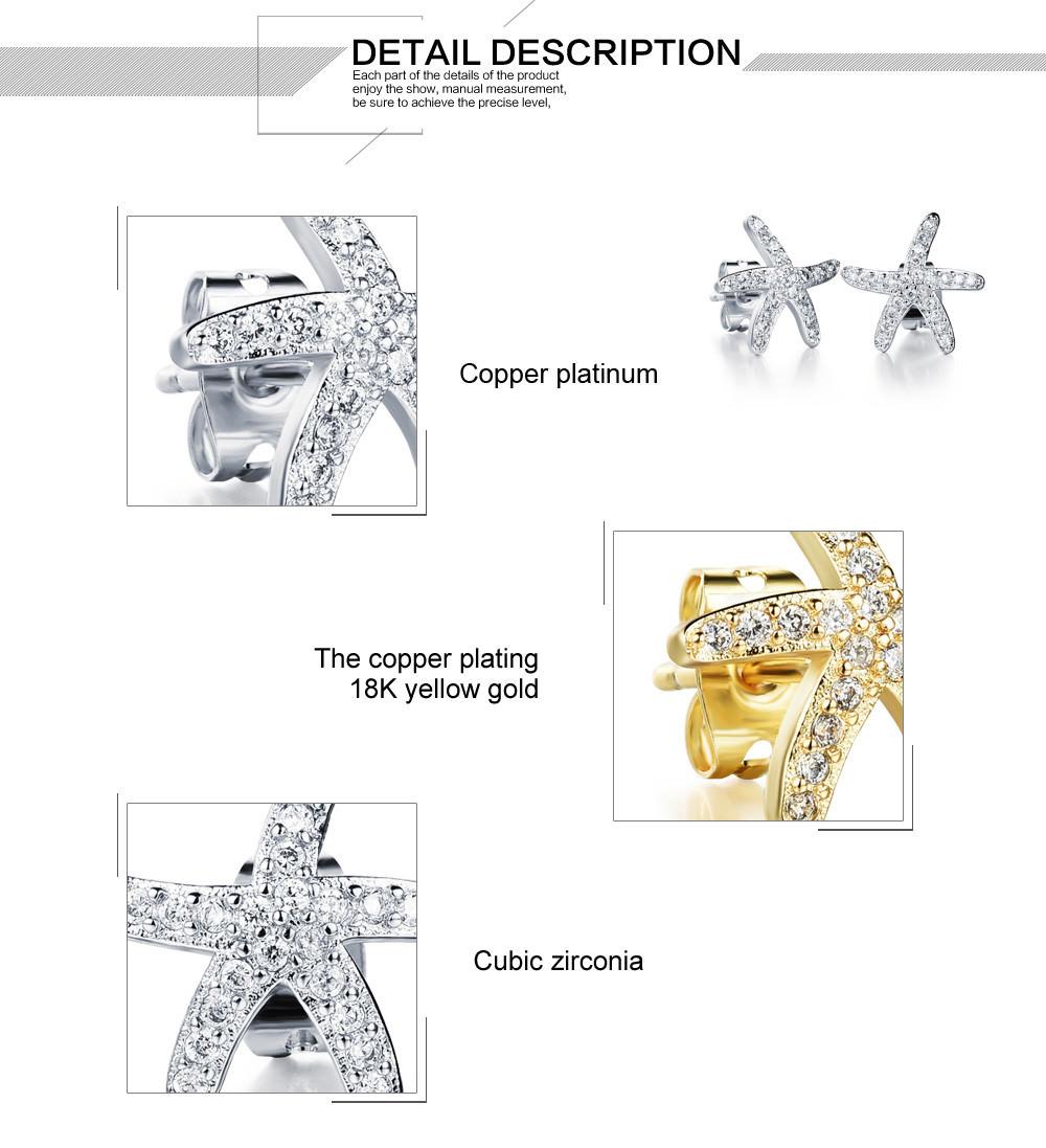 11584-dec73a5b794b1db5aa4192c4f84a67ce OPK Fashion Cubic Zirconia Starfish Push Back Earring Jewelry