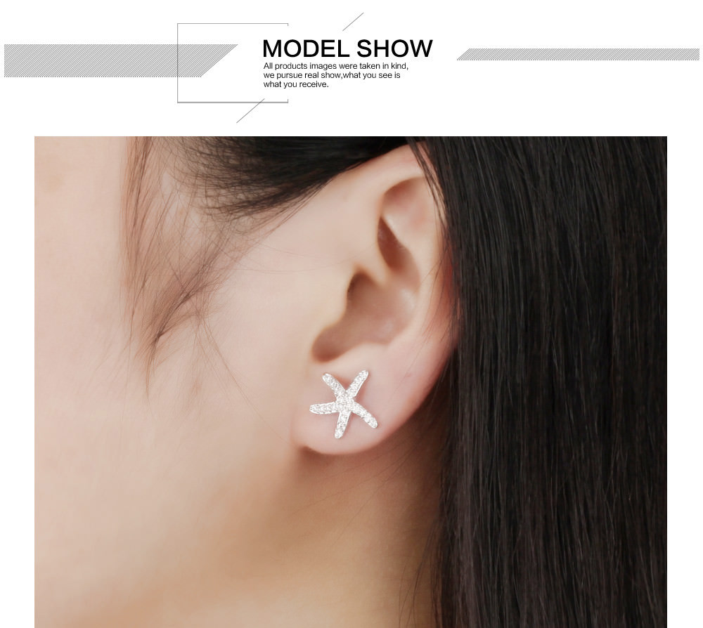 11584-eea502d713edfed498d96ca207e077e5 OPK Fashion Cubic Zirconia Starfish Push Back Earring Jewelry