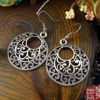 Vintage Tibetan Silver French Hook Earring Jewelry For Women