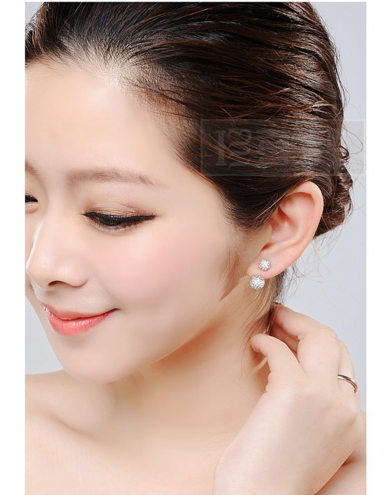 11586-4bf9fa4bb84b8d57119d811960492beb Silver Crystal Ball Push Back Earring Jewelry