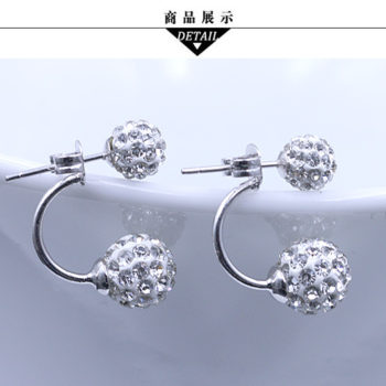 2016 Silver Crystal Ball Push Back Earring Jewelry