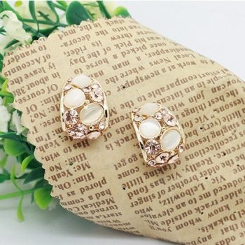 Gemmed & Stoned Gold Plated Hollow Out Push Back Earring Jewelry