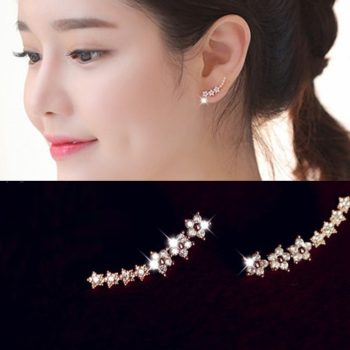 New 2016 Trendy Gemmed Floral Star Cuff Earring Jewelry