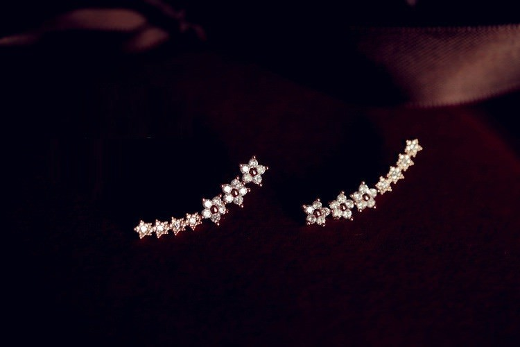 11591-a0bade707cb8022e6cde74bdd1b88864 New 2016 Trendy Gemmed Floral Star Cuff Earring Jewelry