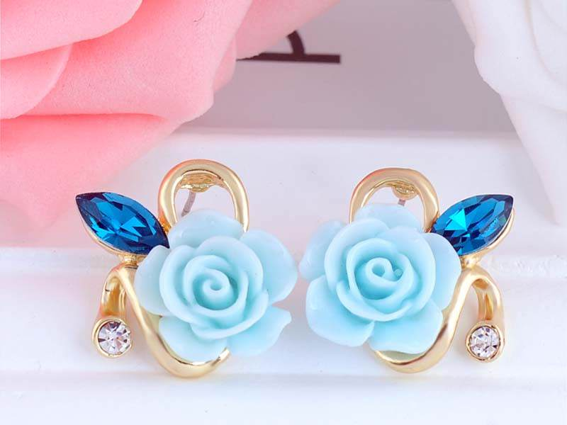 11592-0501a9eaabd635c36b7eb53b552b4f6d Korean Style Rose Flower Earring Jewelry With Rhinestones