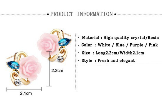 11592-109664c517e82bd28c26e8378718724d Korean Style Rose Flower Earring Jewelry With Rhinestones