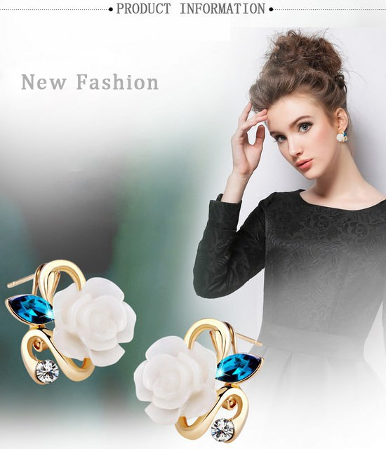 11592-7ad43cbc2d18ac0731db15550944a6ff Korean Style Rose Flower Earring Jewelry With Rhinestones