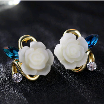 Korean Style Rose Flower Earring Jewelry With Rhinestones