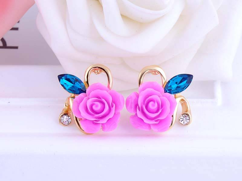 11592-7d9e2578e886872c0829896fb4019e05 Korean Style Rose Flower Earring Jewelry With Rhinestones