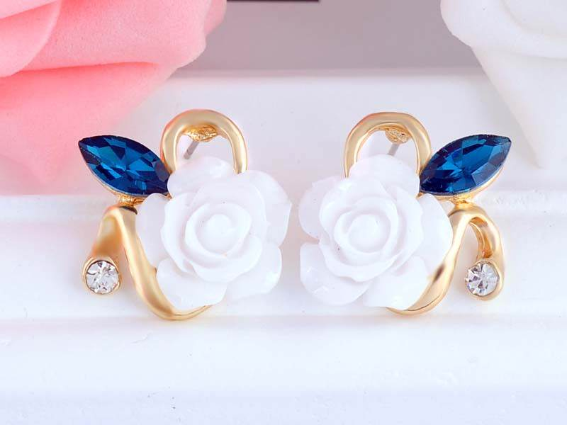 11592-91e7cb9cedfcb0c3fe789c14de775d1d Korean Style Rose Flower Earring Jewelry With Rhinestones