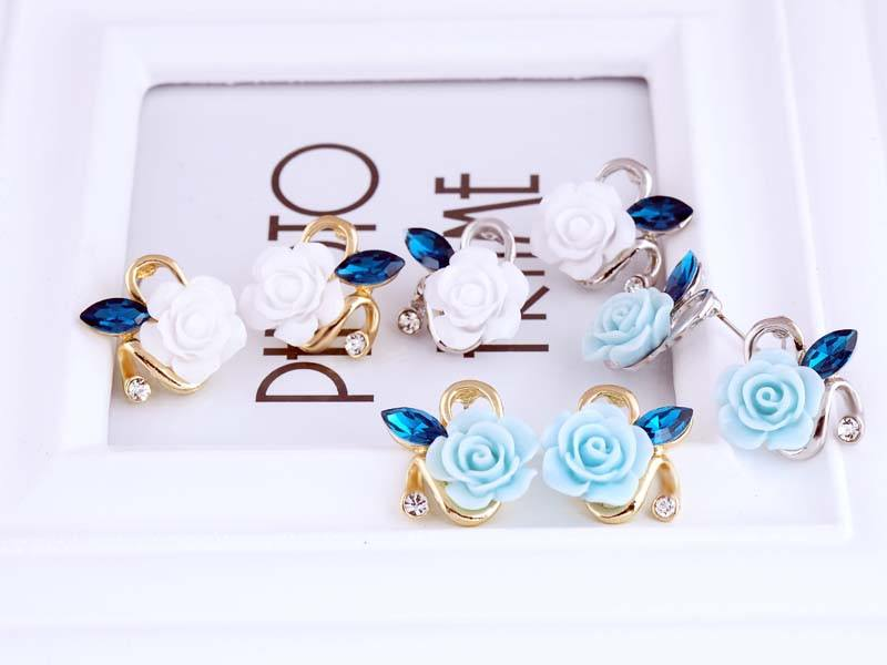 11592-ffef8854b728ad48bbf9f34a4e1a8713 Korean Style Rose Flower Earring Jewelry With Rhinestones