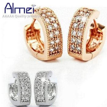 Sophisticated Wedding Fashion Crystal Heart Huggie Earring Jewelry
