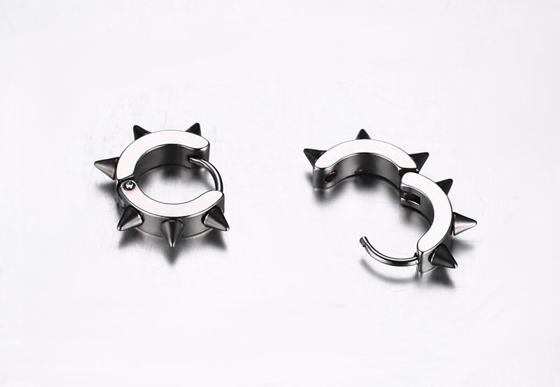 11594-19446b2b0464b6a83e15de5e6f6a2742 Studded Punk Hoop Huggie Earring Jewelry For Men Or Women