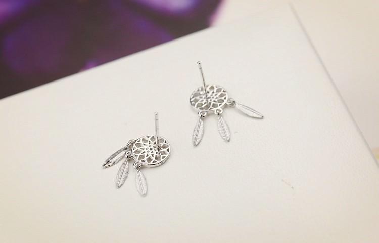 11597-09d46947d364b45918b71d5606bbe471 Bohemian Metal Feathered Dreamcatcher Push Back Earring Jewelry