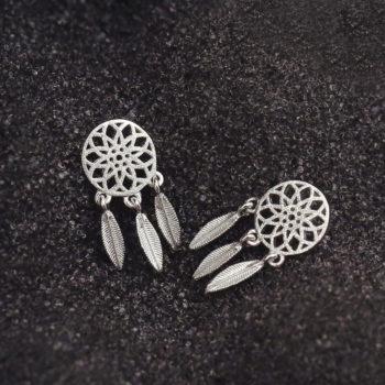 Bohemian Metal Feathered Dreamcatcher Push Back Earring Jewelry