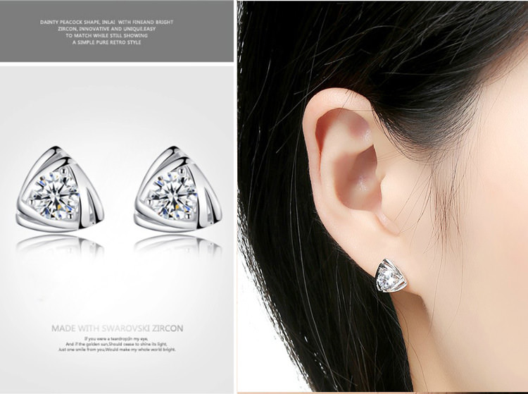 11599-4d7092e548895b32065bc67f8aac0339 Geometric Triangle Stud Earring Jewelry With Crystal Zircon