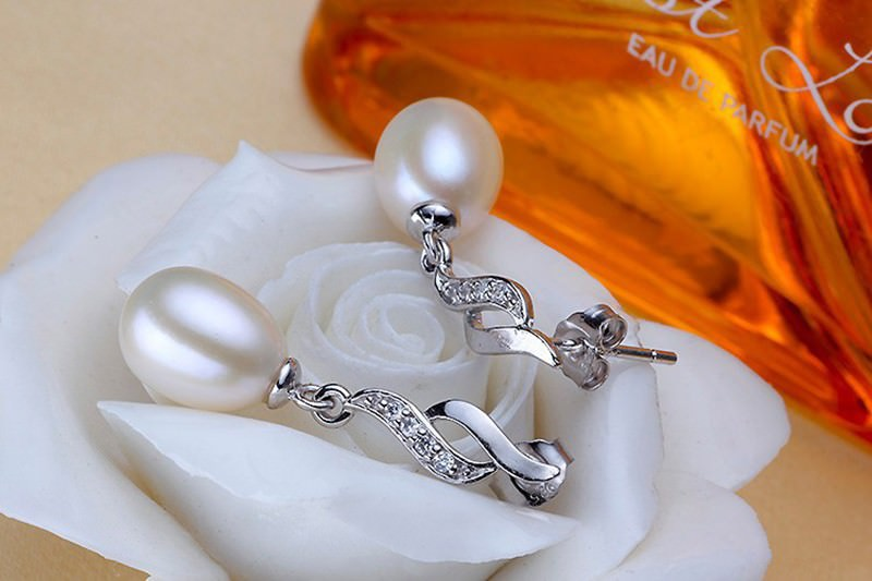 11600-bb6c08cbee8dff9cf4c934403b733f76 Mother's Day Gift Natural Pearl Drop Stud Earring Jewelry