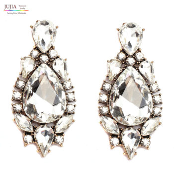 Classy Crystal Tear Drop Push Back Earring Jewelry