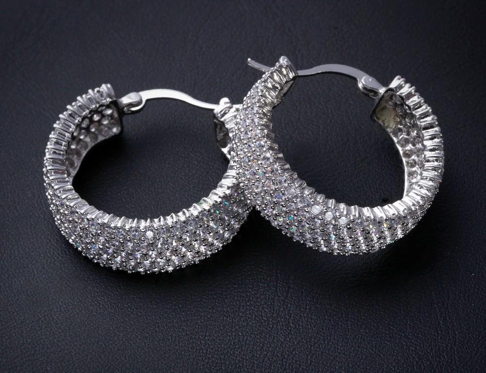 11607-53b81b9e5d002947d0b092185cc691f6 28mm Rhinestone Encrusted Wedding Hoop Earring Jewelry