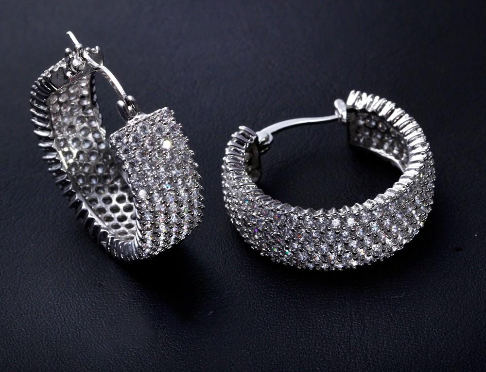 11607-69f8090ac05a8829bf86d7837d8de362 28mm Rhinestone Encrusted Wedding Hoop Earring Jewelry