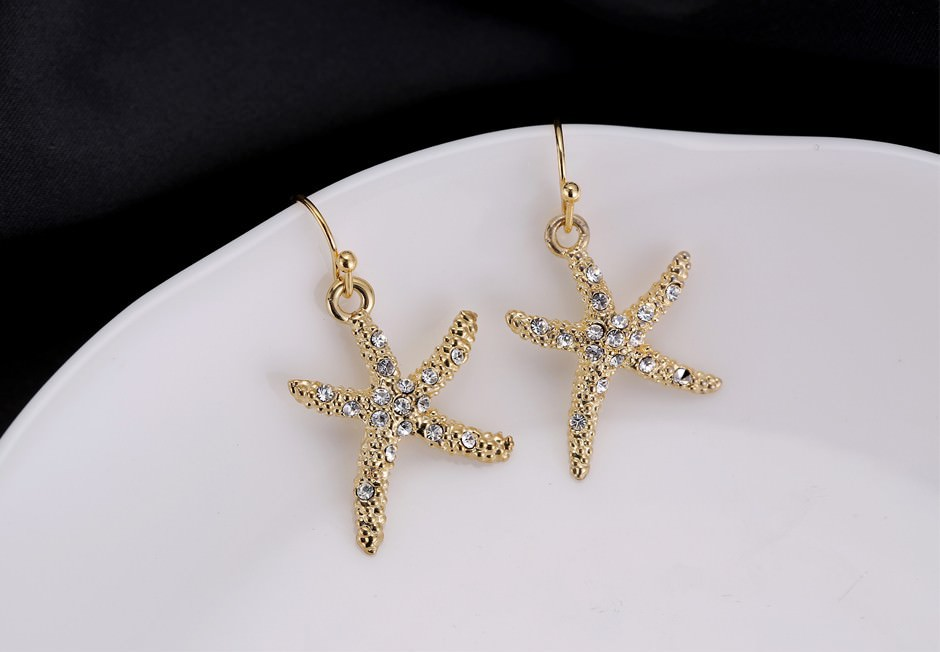 11609-13cc101213040c23784994db6cfdcd9a Stylish Golden Starfish With Rhinestones Earring Jewelry