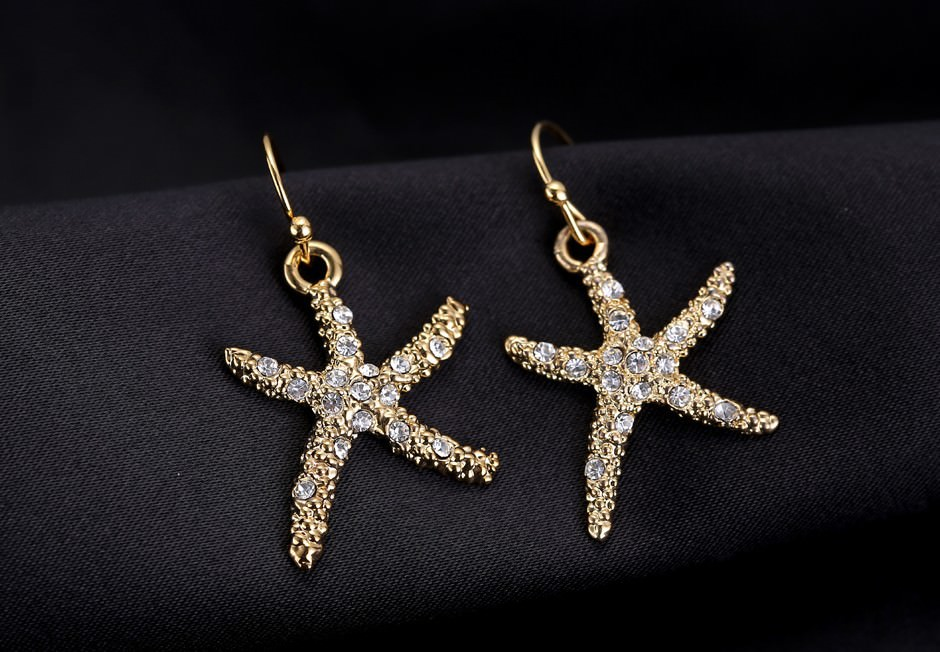 11609-17d731bacfc3afb69567ffd05789512b Stylish Golden Starfish With Rhinestones Earring Jewelry