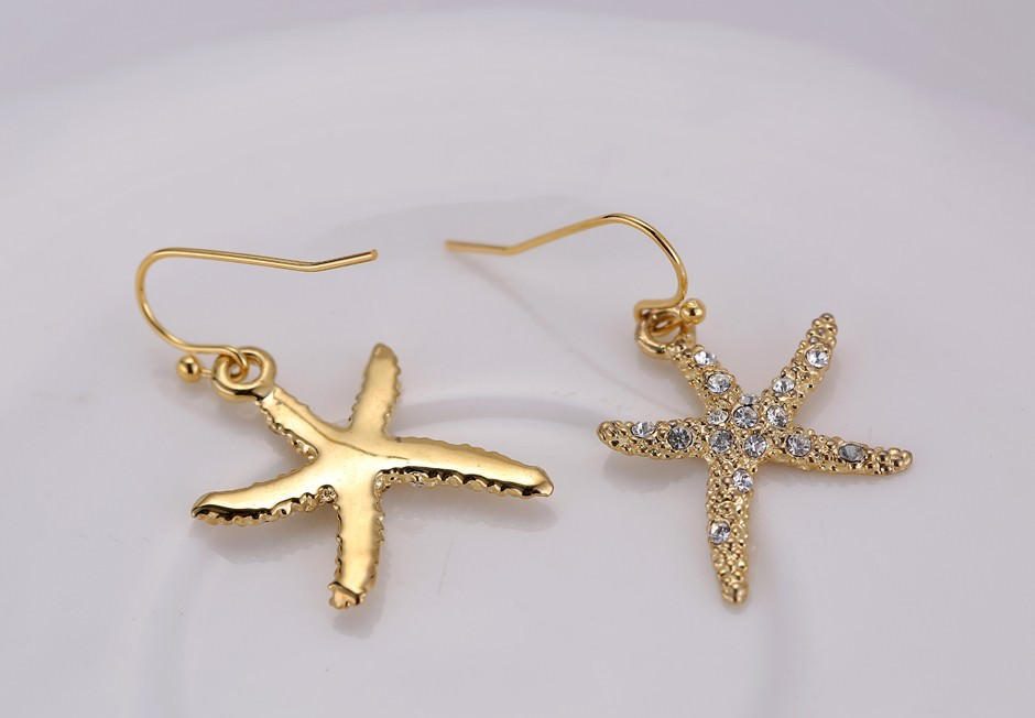 11609-24b397473dc0d5e48d2337ec03a1349c Stylish Golden Starfish With Rhinestones Earring Jewelry