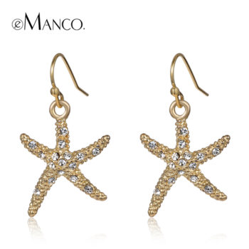 Stylish Golden Starfish With Rhinestones Earring Jewelry