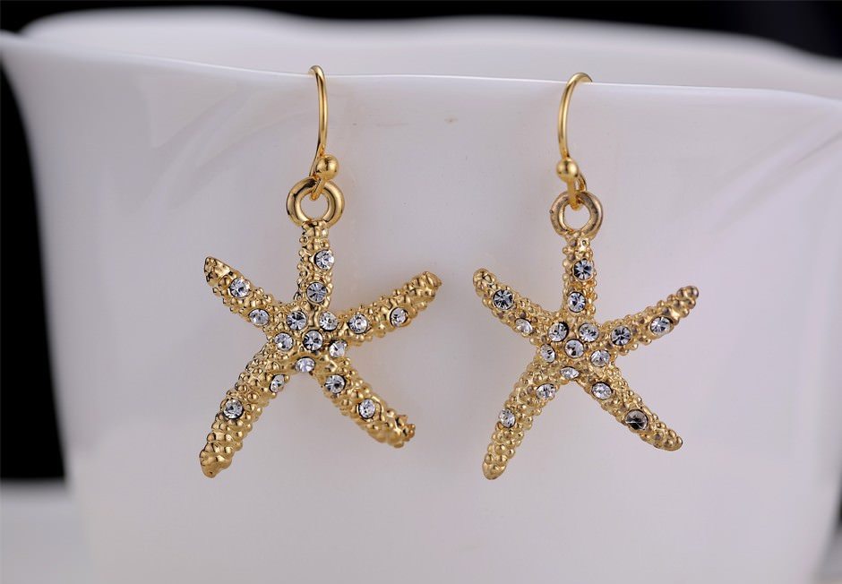 11609-a35a6bdd09dcf22e9b16f6af626e05b9 Stylish Golden Starfish With Rhinestones Earring Jewelry