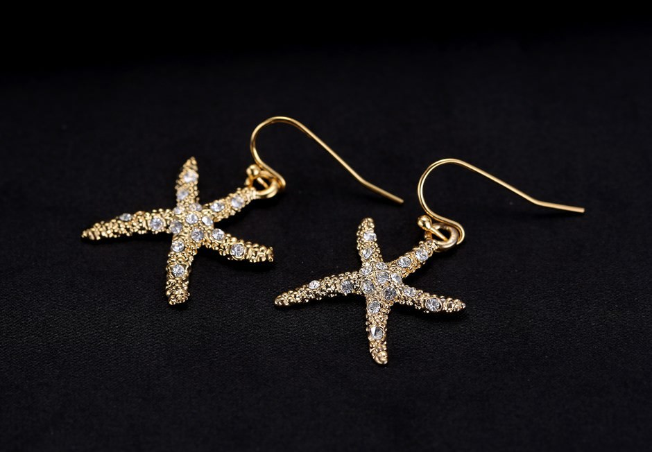 11609-a4c3d263395bb17b7768ea825e0336b5 Stylish Golden Starfish With Rhinestones Earring Jewelry