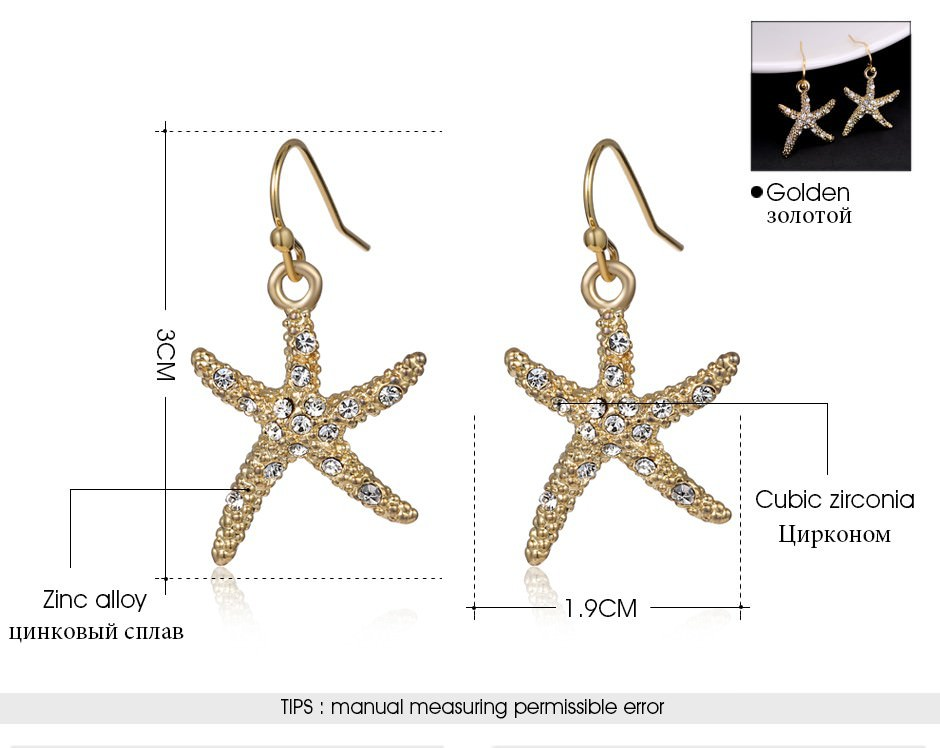 11609-af84e991bdda76a9a6263f853f99aba1 Stylish Golden Starfish With Rhinestones Earring Jewelry