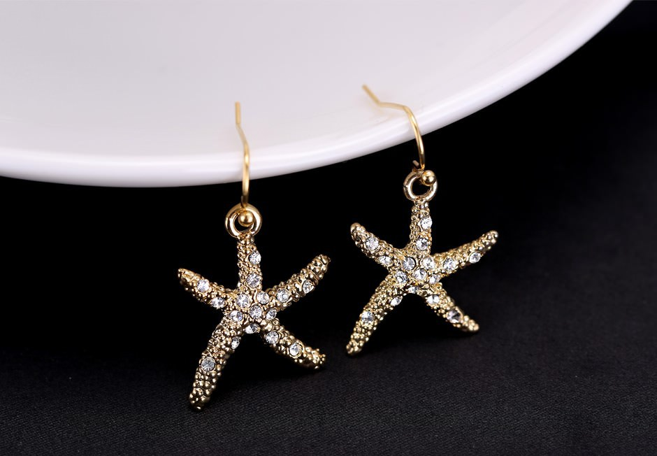 11609-c13059f37c5070b0ca3a05a6f5fcf3d7 Stylish Golden Starfish With Rhinestones Earring Jewelry