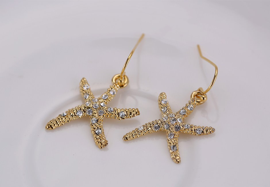 11609-cf60c2a8f420aca4cbeae7ef557b6dab Stylish Golden Starfish With Rhinestones Earring Jewelry
