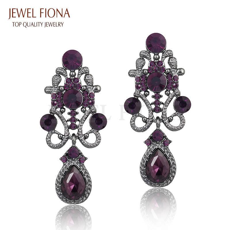 11610-0d99f891875fed2cdb885fa8d1252f3e Fancy Gunmetal Chandelier Drop Earring Jewelry With Rhinestones