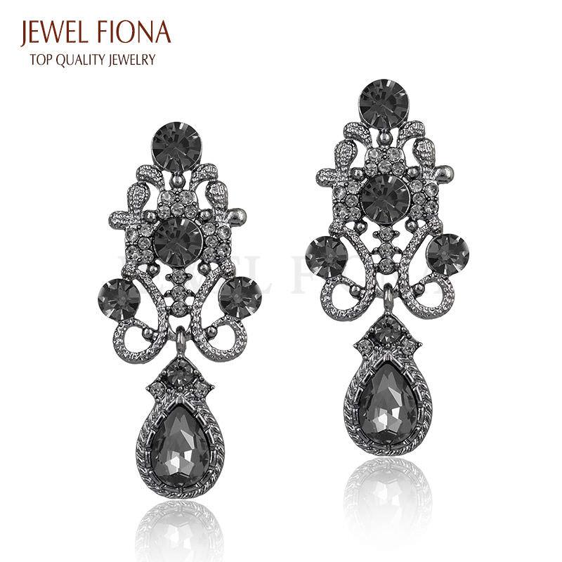 11610-42cfdf41cc40121570c1385320ddacc9 Fancy Gunmetal Chandelier Drop Earring Jewelry With Rhinestones
