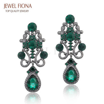 Fancy Gunmetal Chandelier Drop Earring Jewelry With Rhinestones